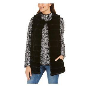 INC black faux fur duster vest